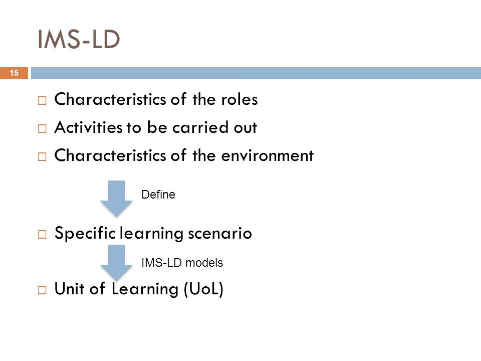 IMS-LD Characteristics of the roles Activities to be carried out