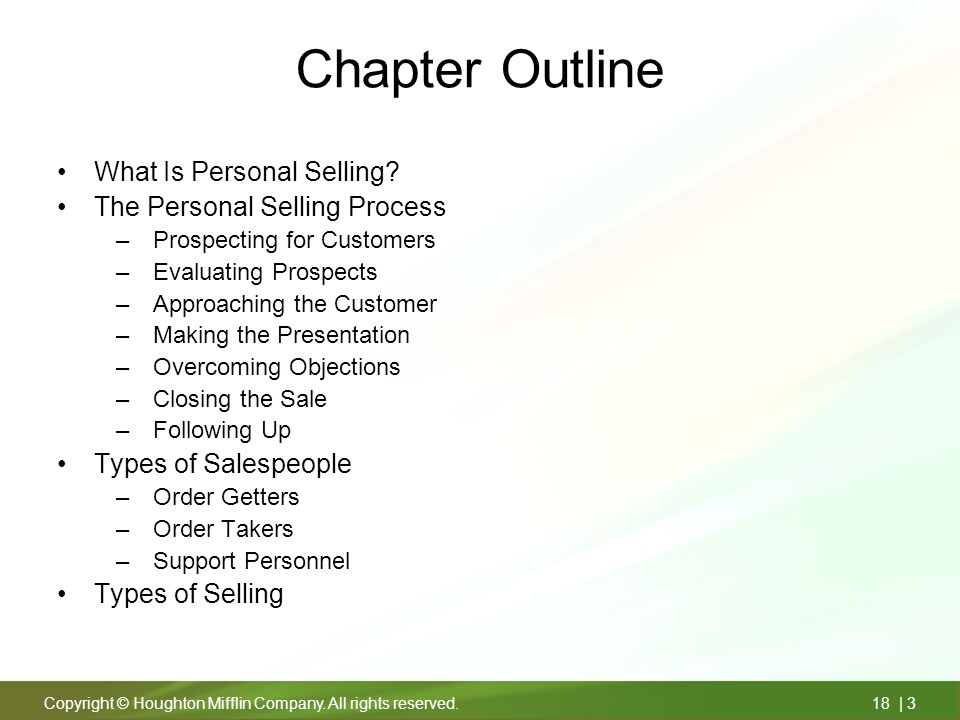 chapter outline what is personal selling the personal selling process
