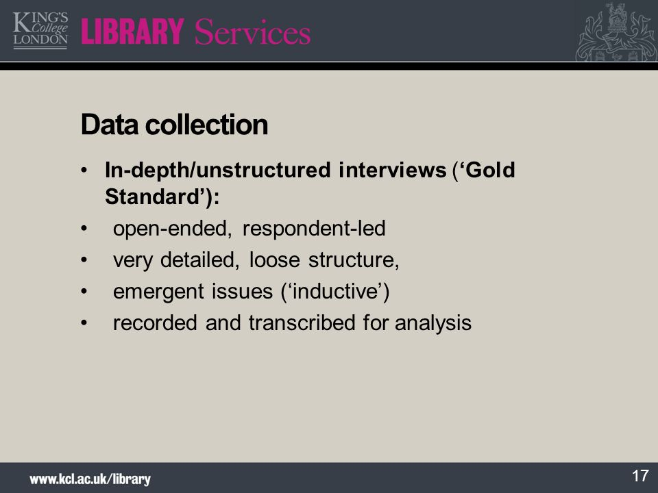 Data collection In-depth/unstructured interviews ('Gold Standard'):