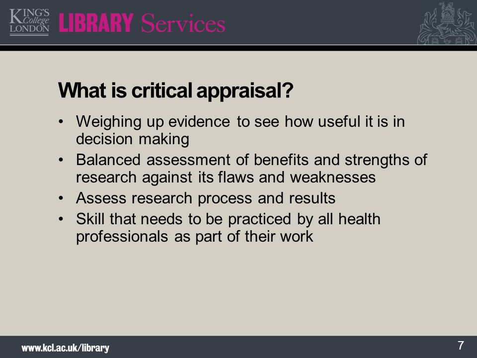 What is critical appraisal
