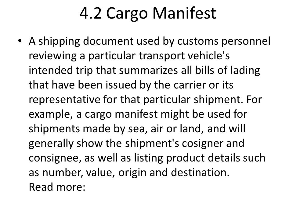 Chapter 4 CARGO DOCUMENTS