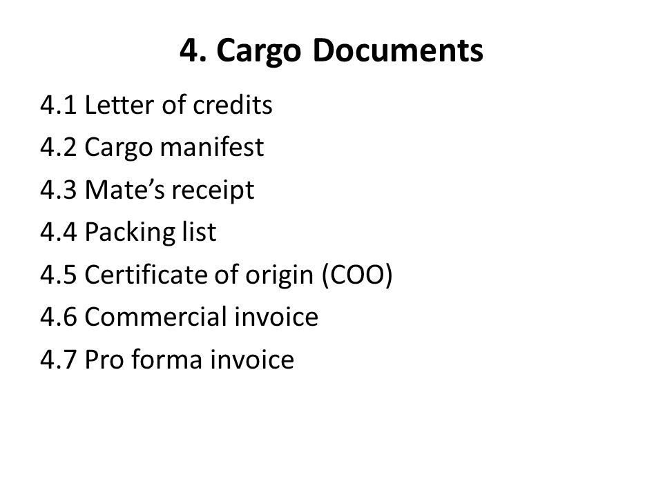Cargo Documents 41 Letter Of Credits 42 Manifest