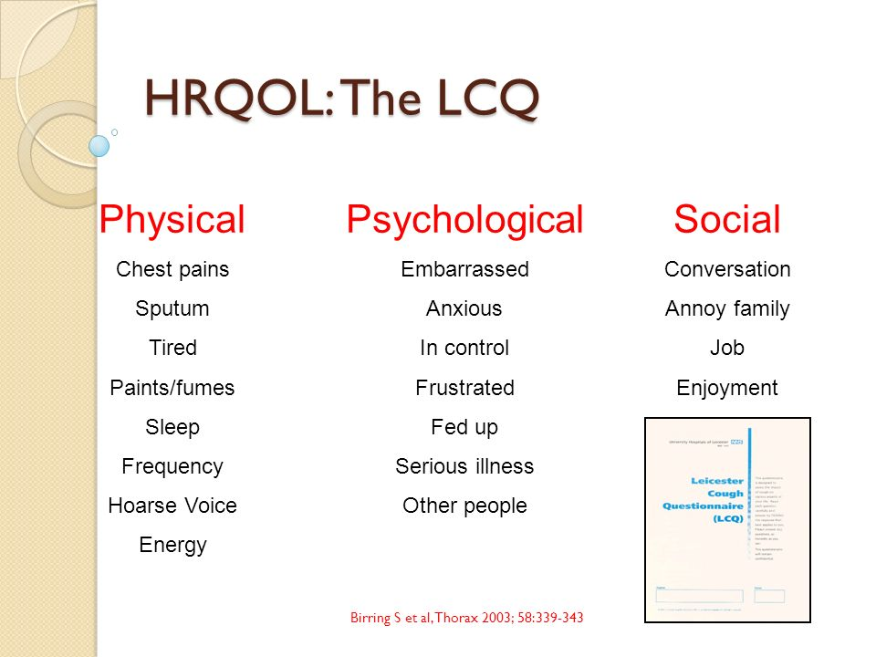 HRQOL: The LCQ Physical Psychological Social Chest pains Sputum Tired