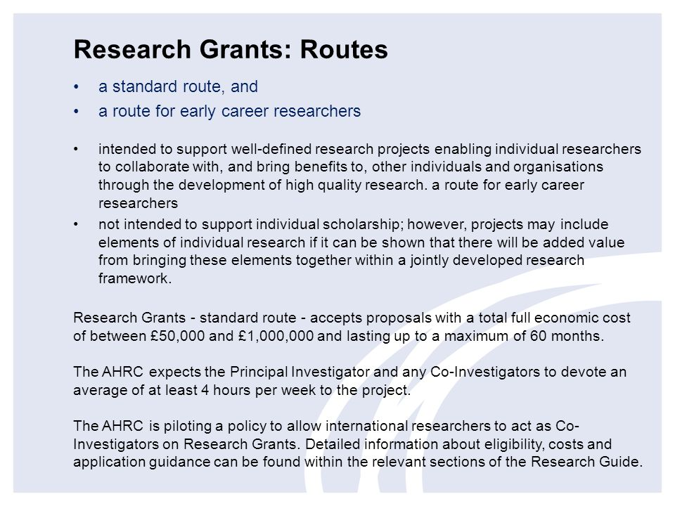 Research Grants: Routes