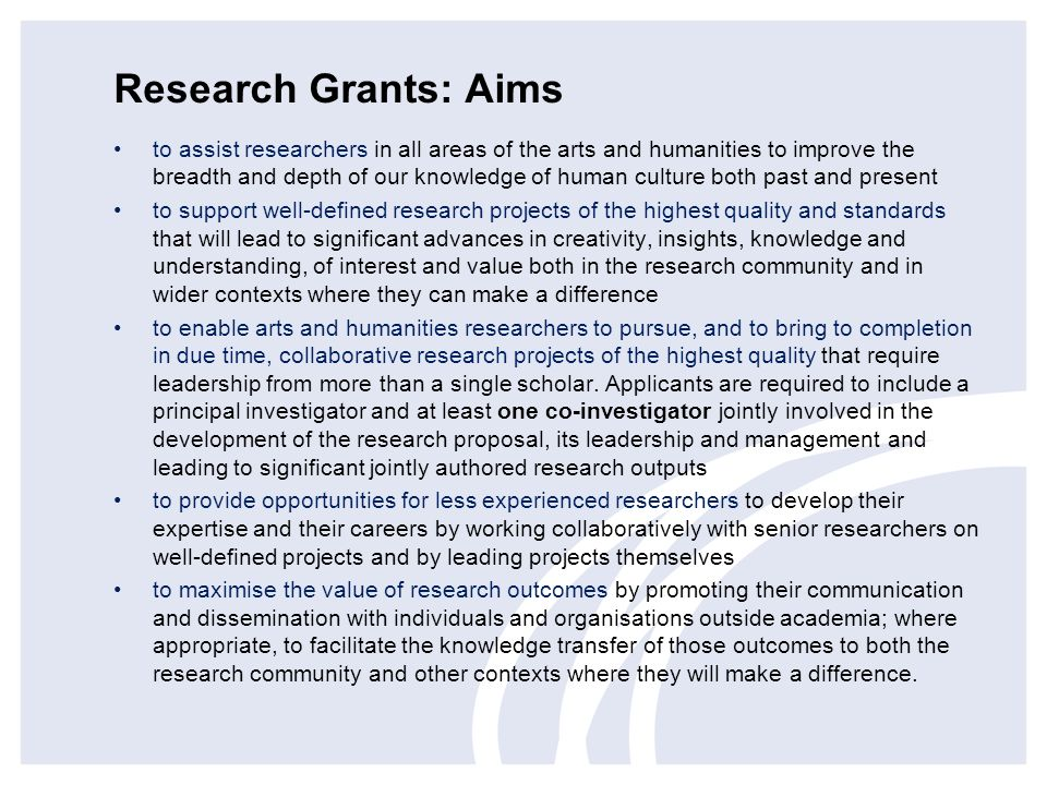 Research Grants: Aims