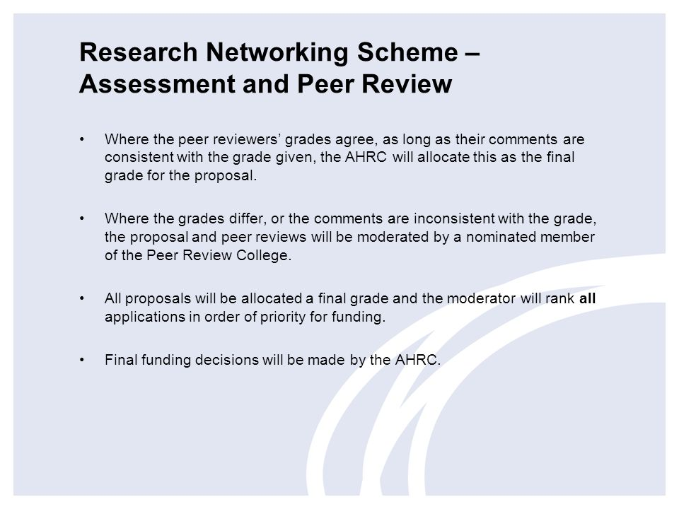 Research Networking Scheme – Assessment and Peer Review