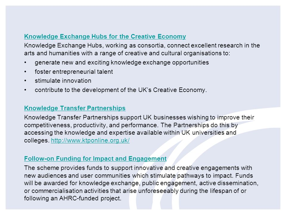 Knowledge Exchange Hubs for the Creative Economy