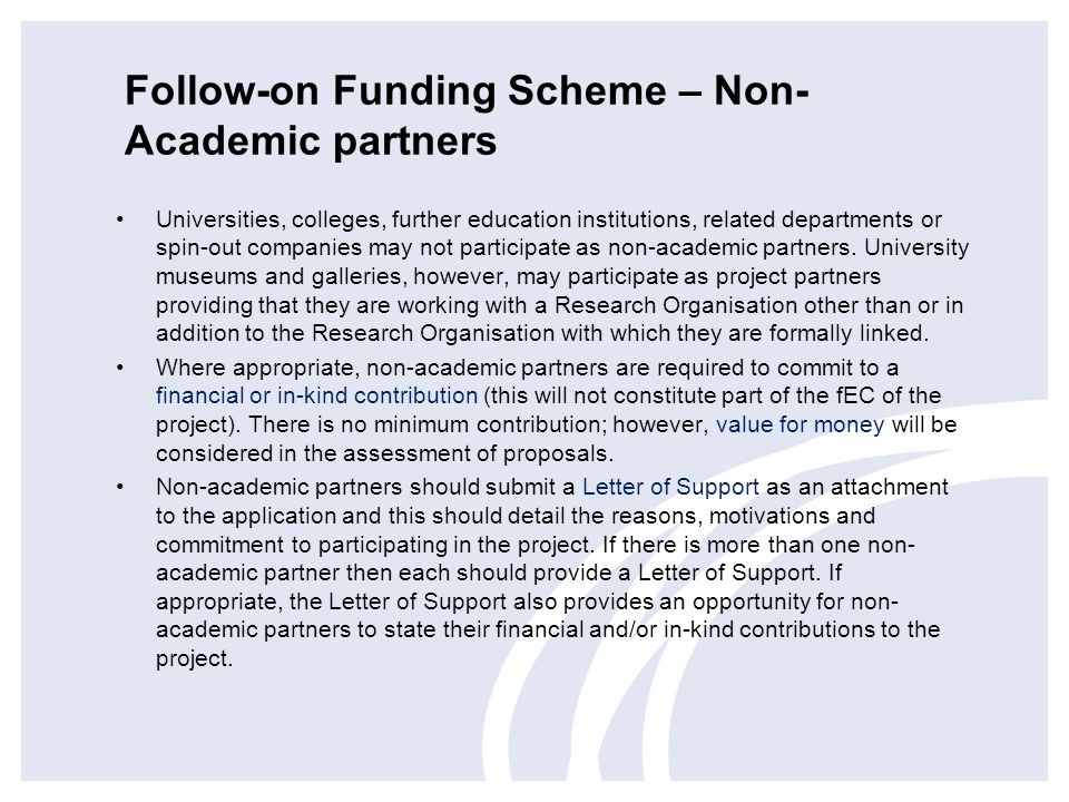 Follow-on Funding Scheme – Non-Academic partners