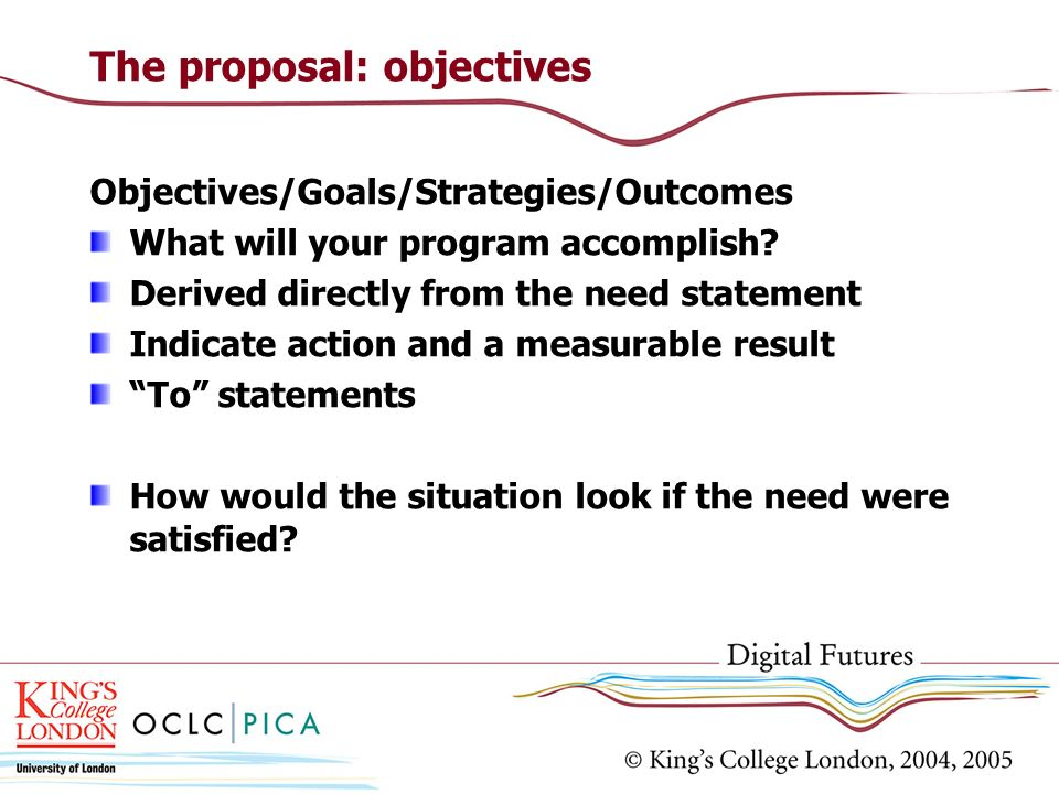 The proposal: objectives