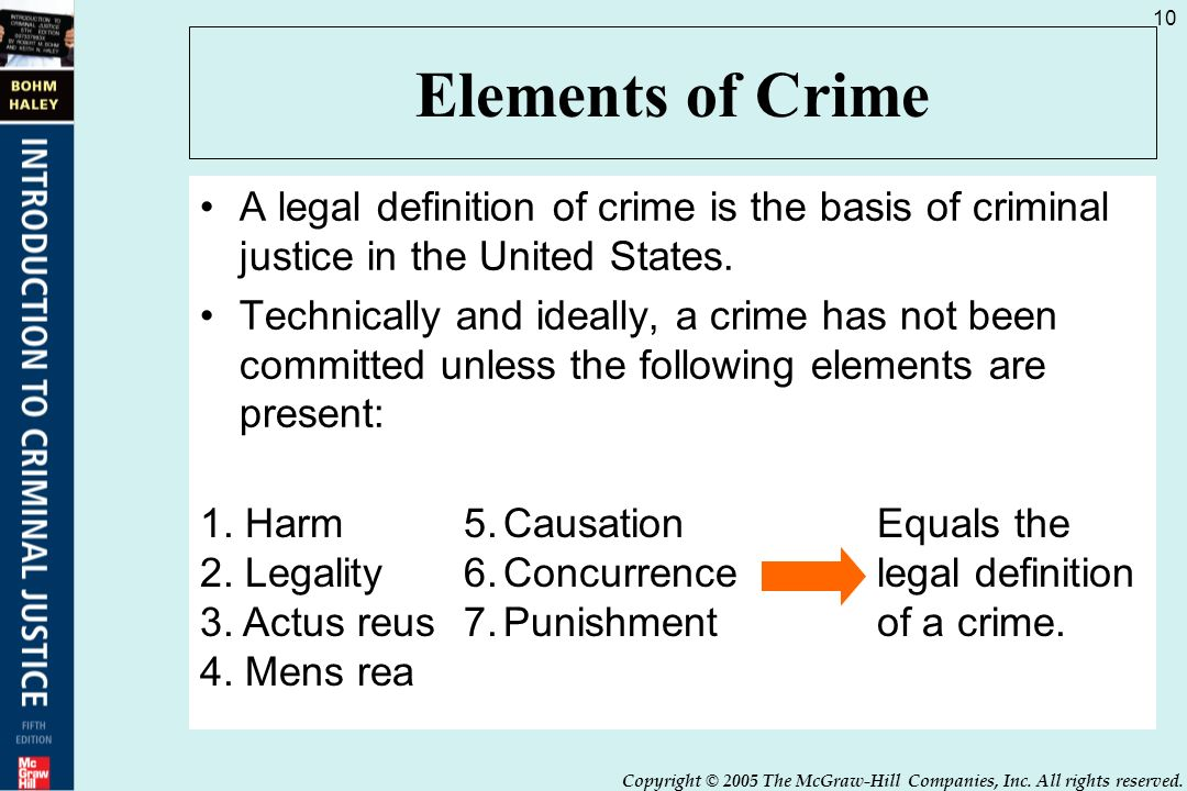 elements of crime a legal definition of crime is the basis of criminal justice in the