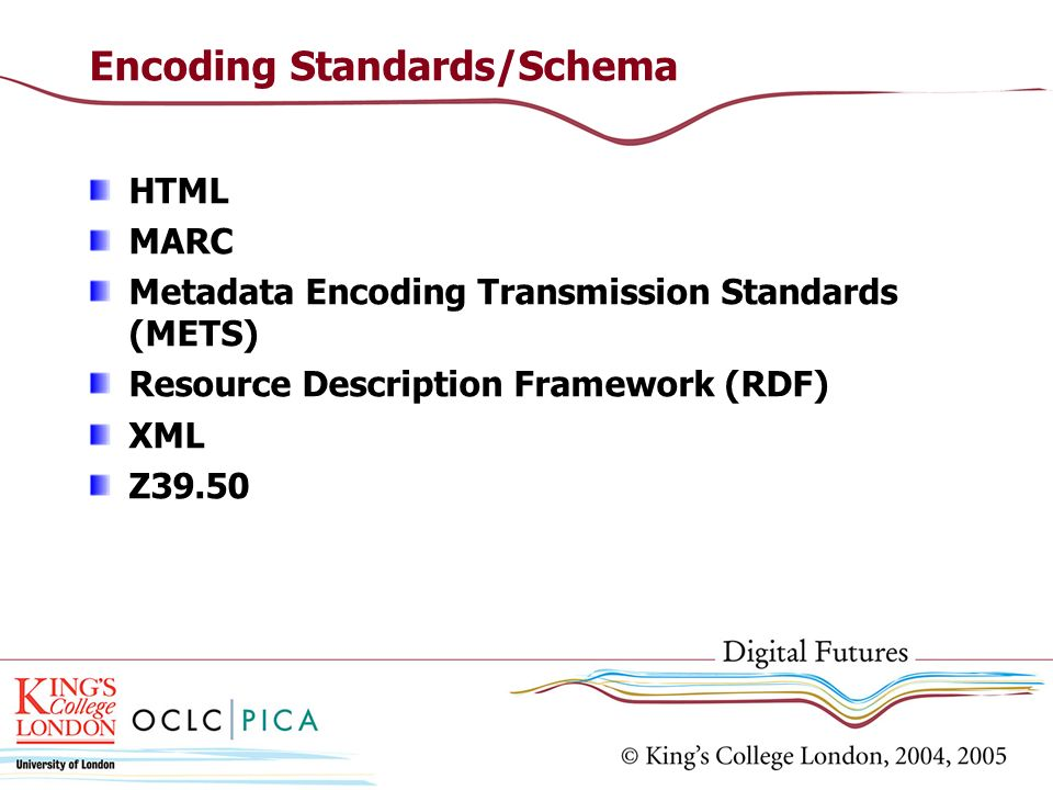 Encoding Standards/Schema