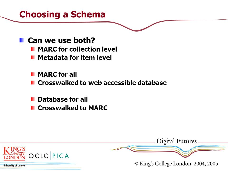 Choosing a Schema Can we use both MARC for collection level