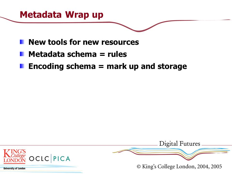 Metadata Wrap up New tools for new resources Metadata schema = rules