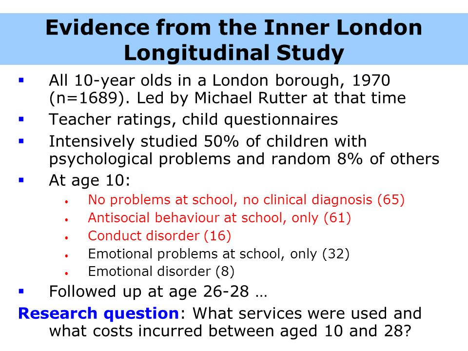 Evidence from the Inner London Longitudinal Study