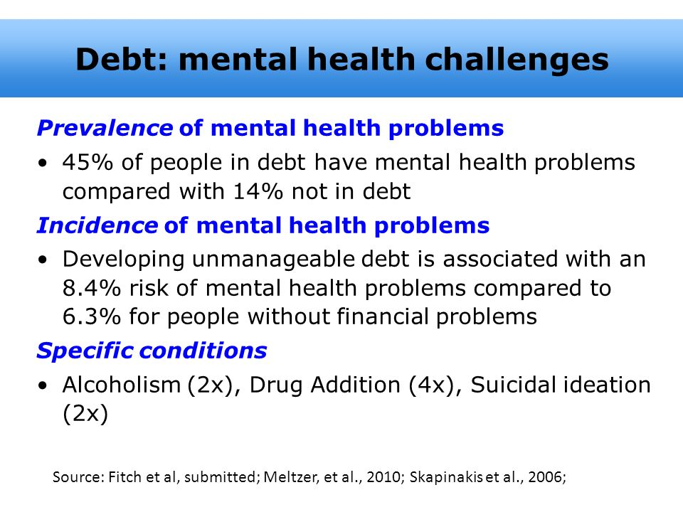 Debt: mental health challenges