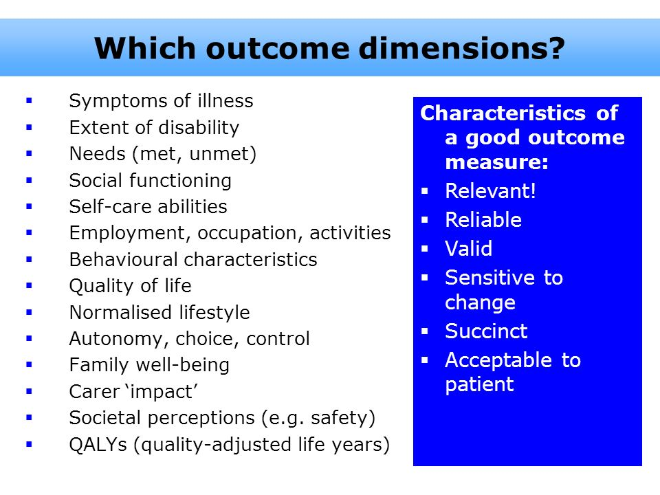 Which outcome dimensions