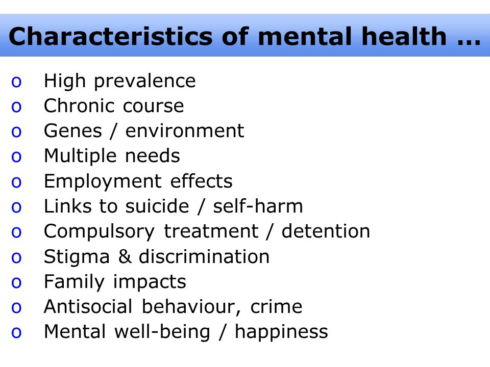 Characteristics of mental health …
