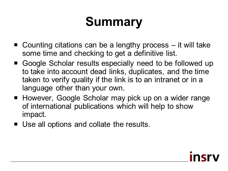 Summary Counting citations can be a lengthy process – it will take some time and checking to get a definitive list.