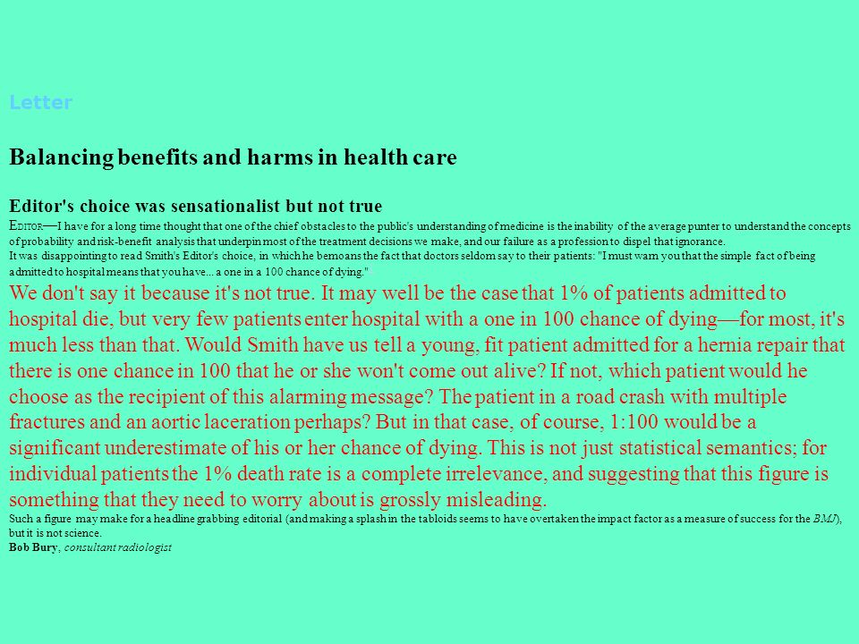 Balancing benefits and harms in health care