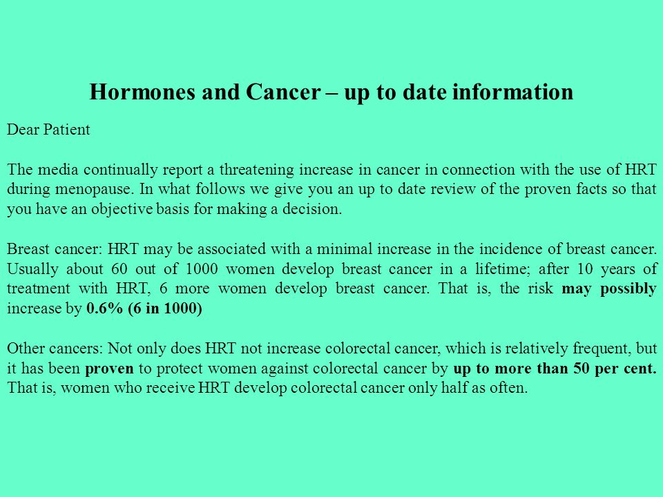 Hormones and Cancer – up to date information