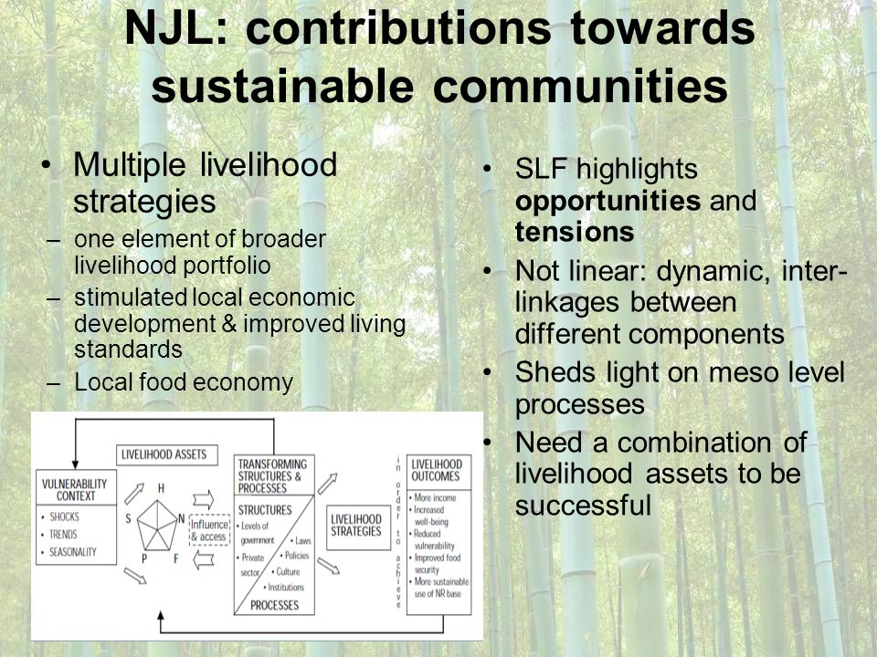 NJL: contributions towards sustainable communities