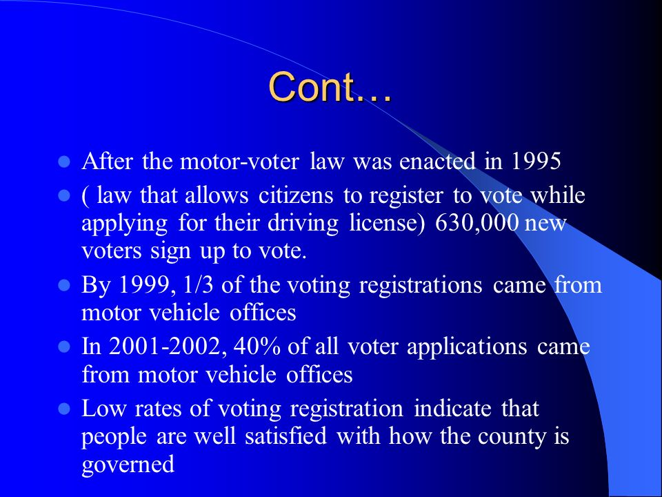 After the motor-voter law was enacted in 1995