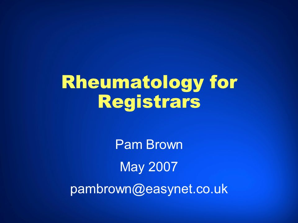 Rheumatology for Registrars