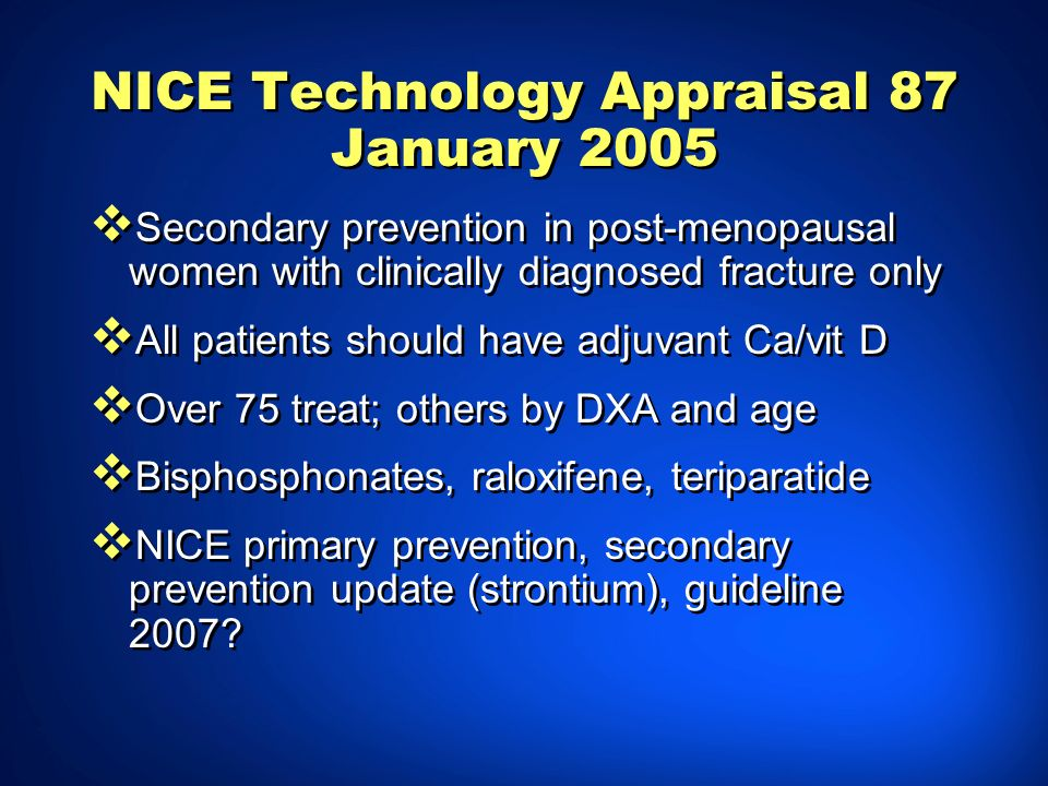NICE Technology Appraisal 87 January 2005