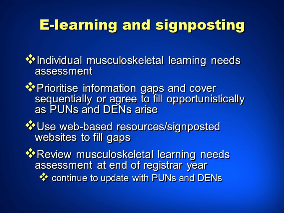 E-learning and signposting