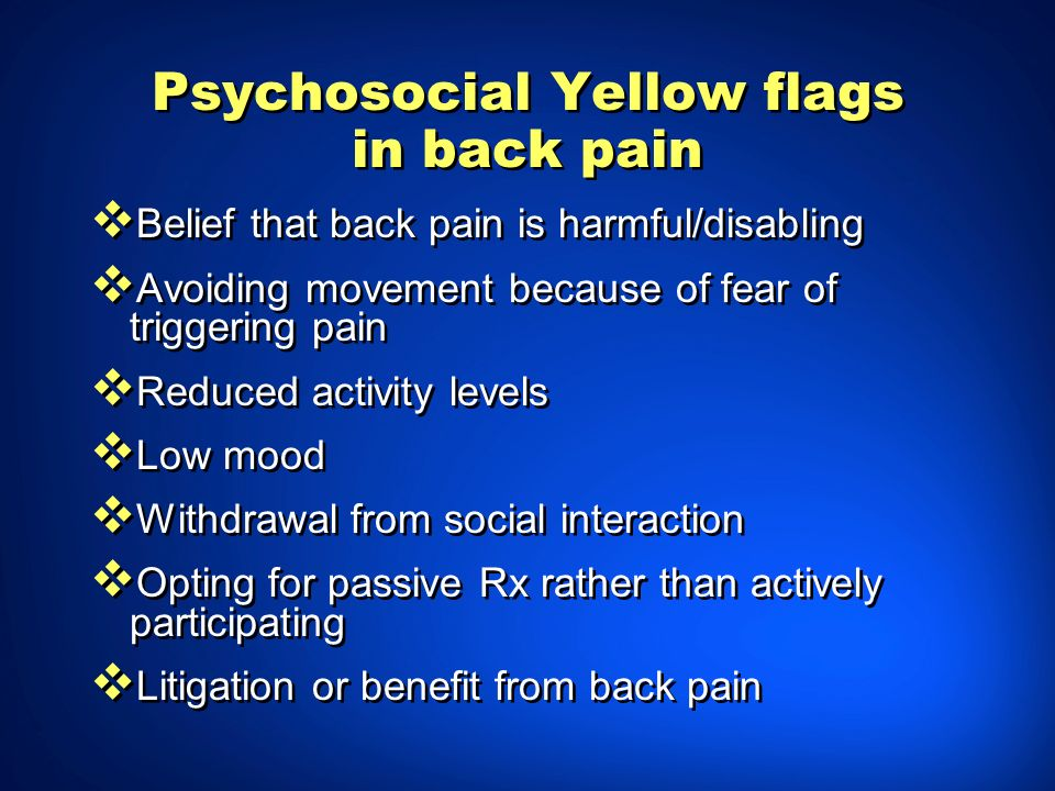 Psychosocial Yellow flags in back pain
