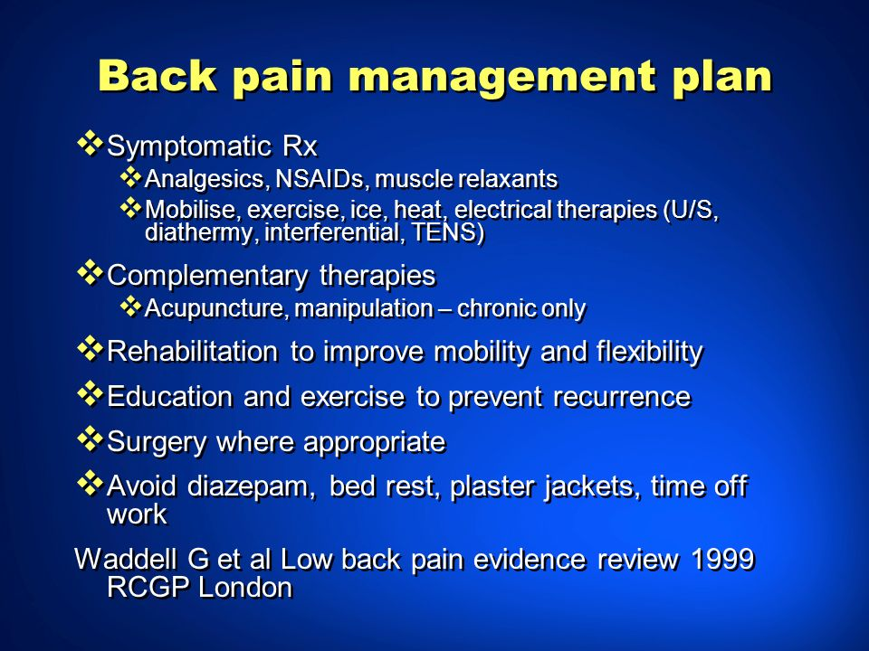 Back pain management plan