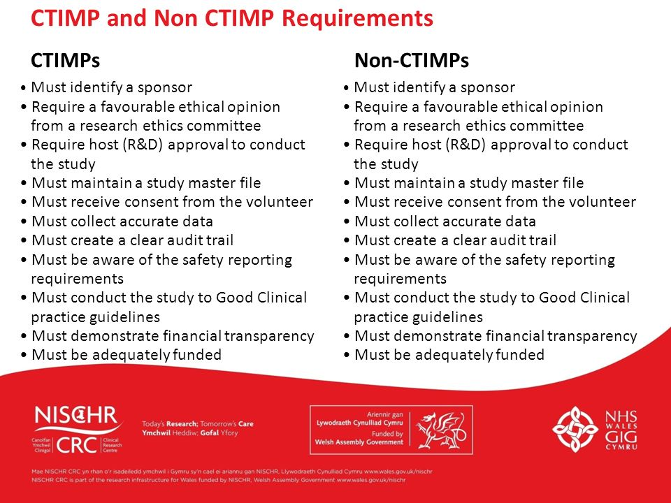 CTIMP and Non CTIMP Requirements CTIMPs Non-CTIMPs