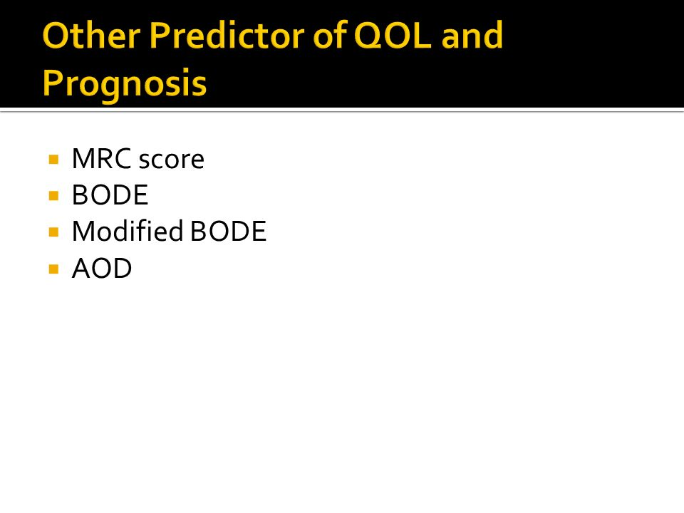 Other Predictor of QOL and Prognosis