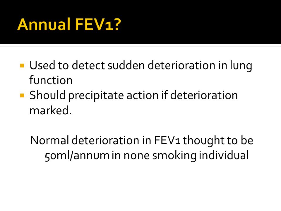 Annual FEV1 Used to detect sudden deterioration in lung function