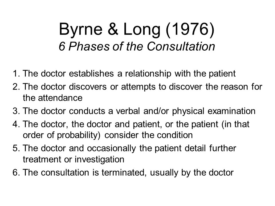 Byrne & Long (1976) 6 Phases of the Consultation