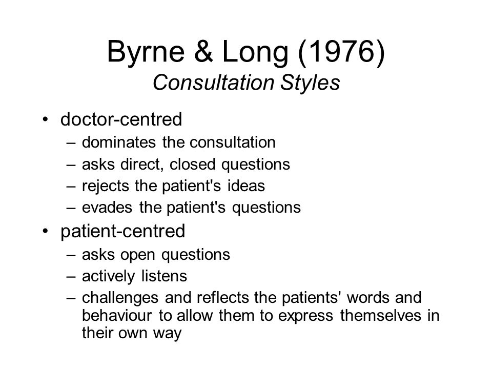 Byrne & Long (1976) Consultation Styles