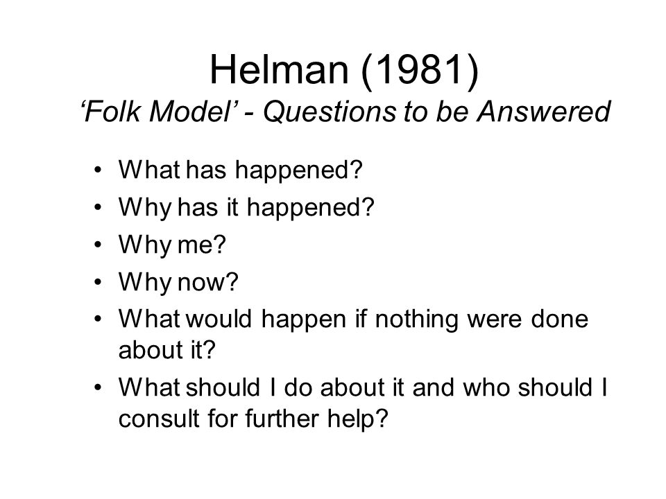 Helman (1981) 'Folk Model' - Questions to be Answered