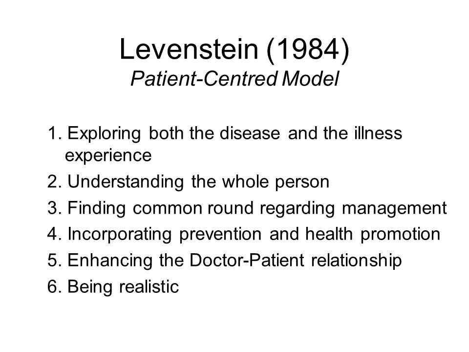 Levenstein (1984) Patient-Centred Model