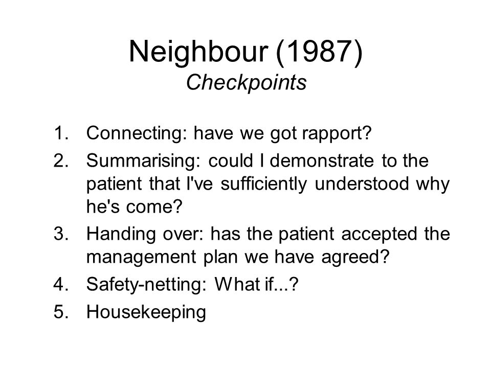 Neighbour (1987) Checkpoints