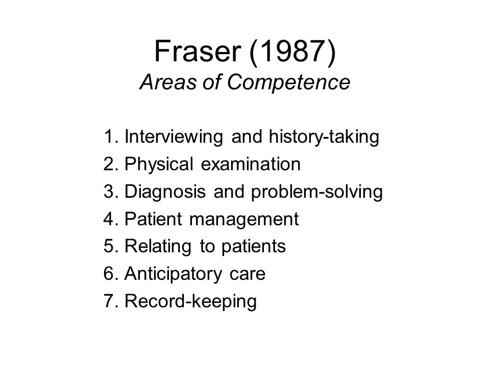 Fraser (1987) Areas of Competence