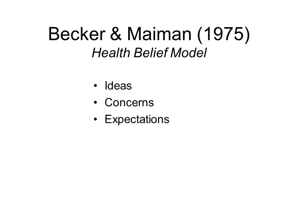 Becker & Maiman (1975) Health Belief Model