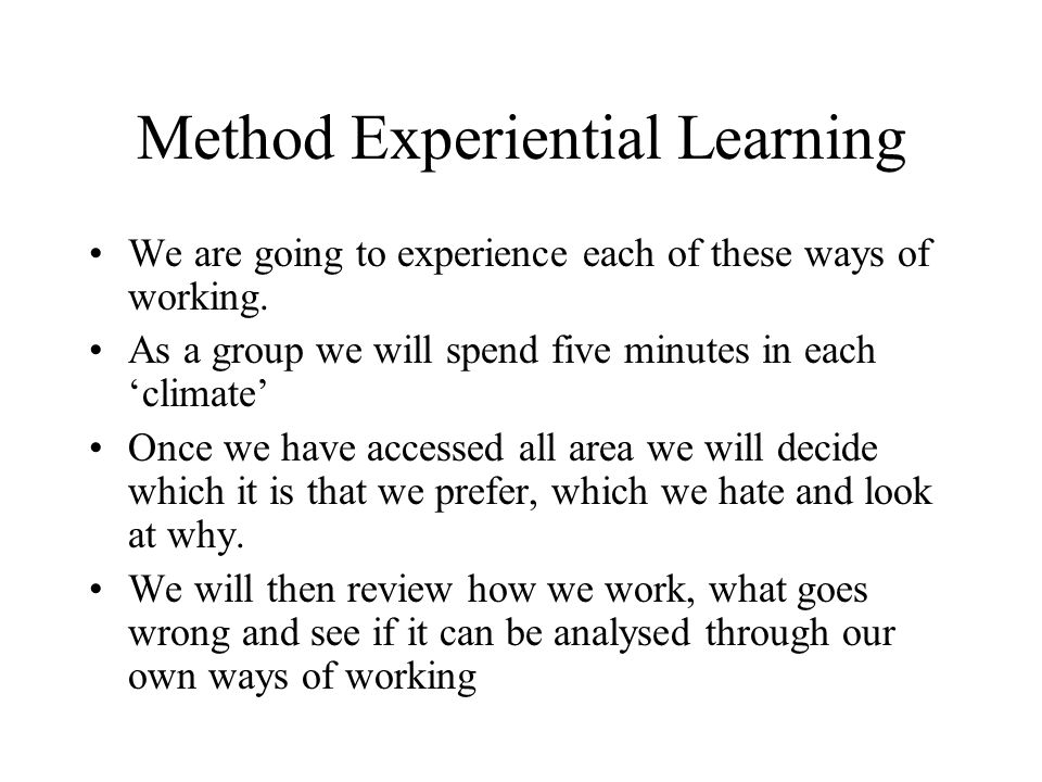 Method Experiential Learning