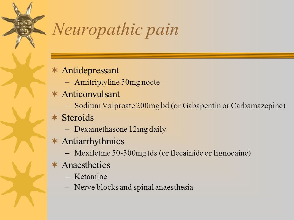 Neuropathic pain Antidepressant Anticonvulsant Steroids