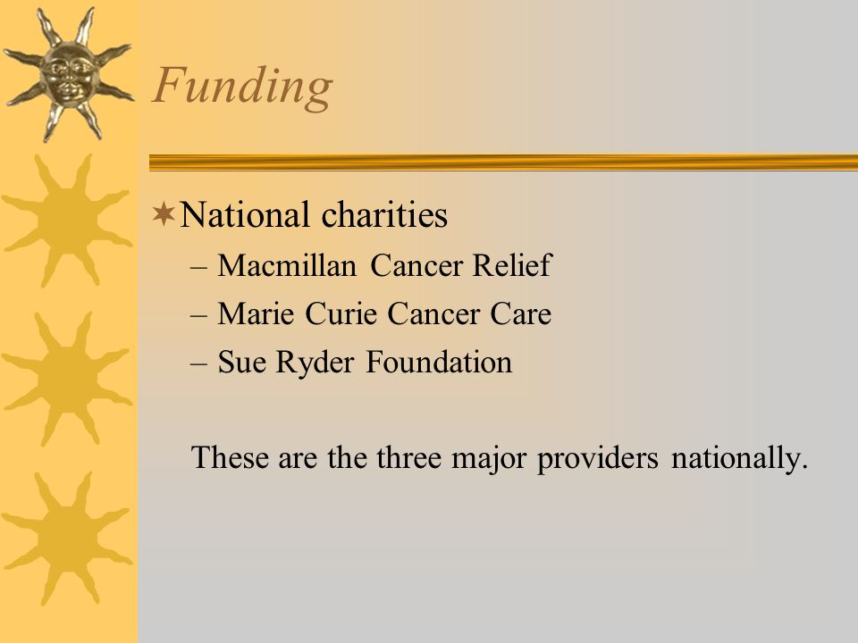 Funding National charities Macmillan Cancer Relief