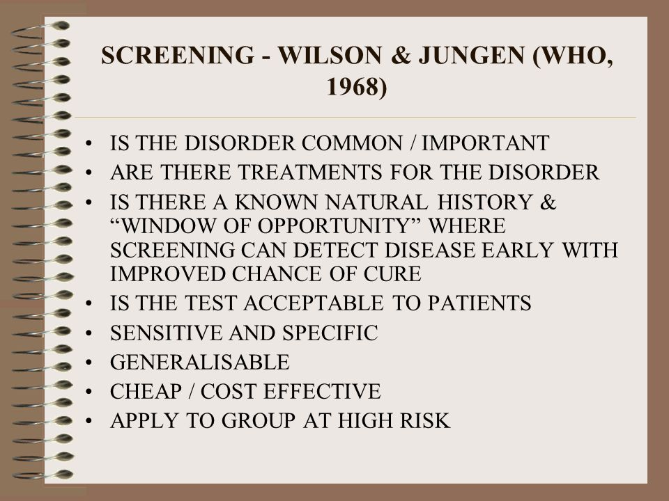 SCREENING - WILSON & JUNGEN (WHO, 1968)