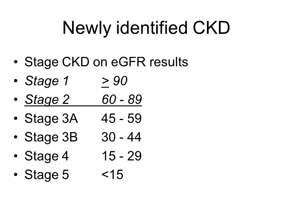 Newly identified CKD Stage CKD on eGFR results Stage 1 > 90