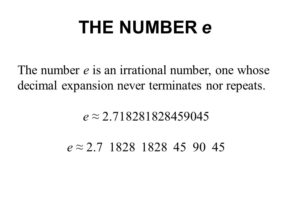 what is the number e