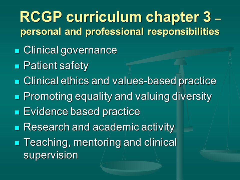 RCGP curriculum chapter 3 – personal and professional responsibilities