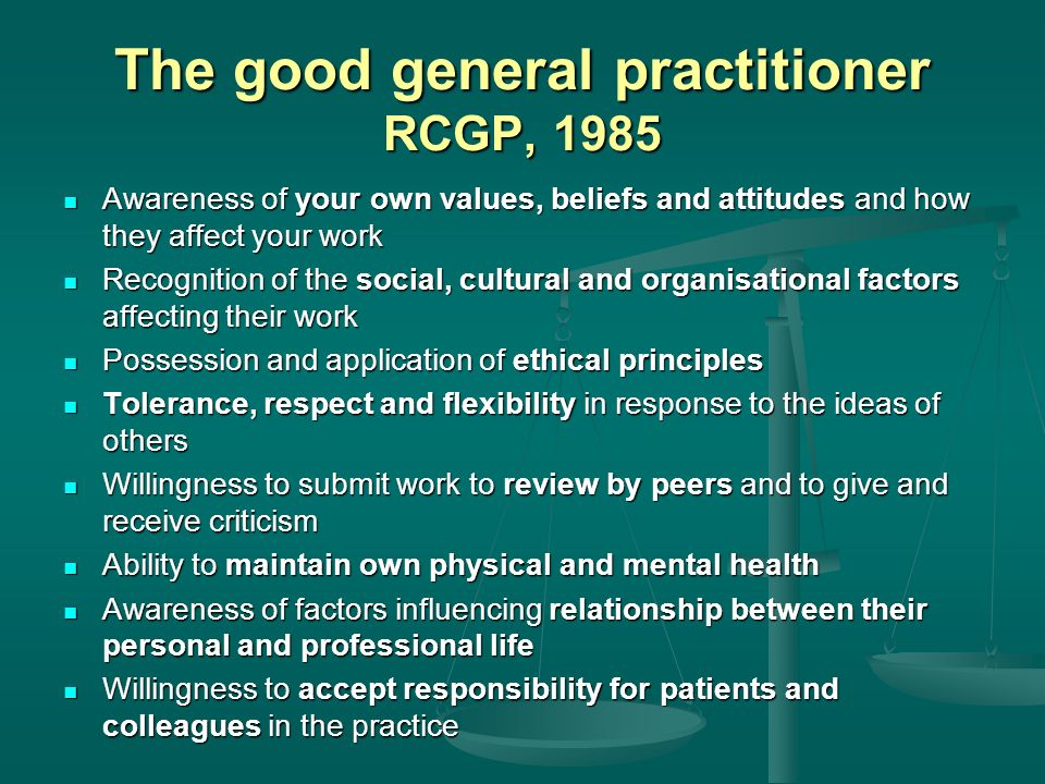 The good general practitioner RCGP, 1985