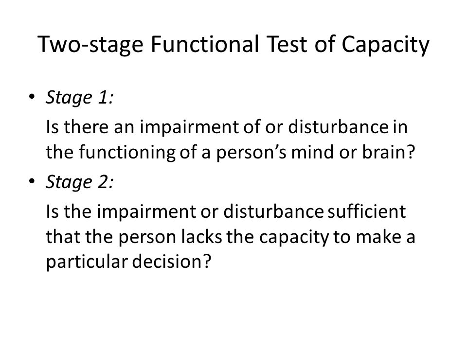 Two-stage Functional Test of Capacity